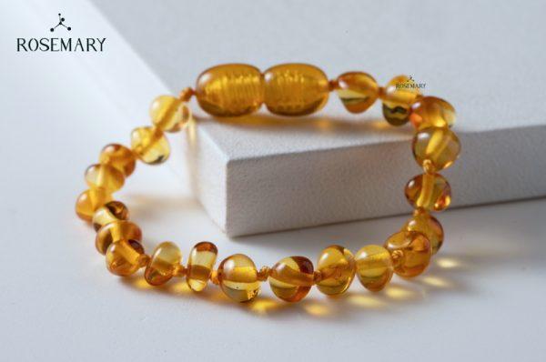 Vòng tay hổ phách trẻ em màu mật ong - Honey