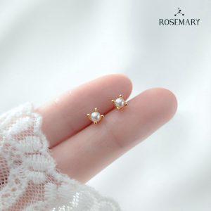 hoa tai ngọc trai Akoya 4mm vàng 14k